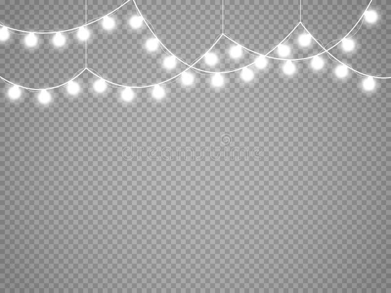 Julljus som isoleras på genomskinlig bakgrund Glödande girland för vektorxmas royaltyfri illustrationer