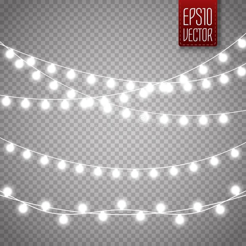 Julljus som isoleras på genomskinlig bakgrund Glödande girland för vektorxmas vektor illustrationer