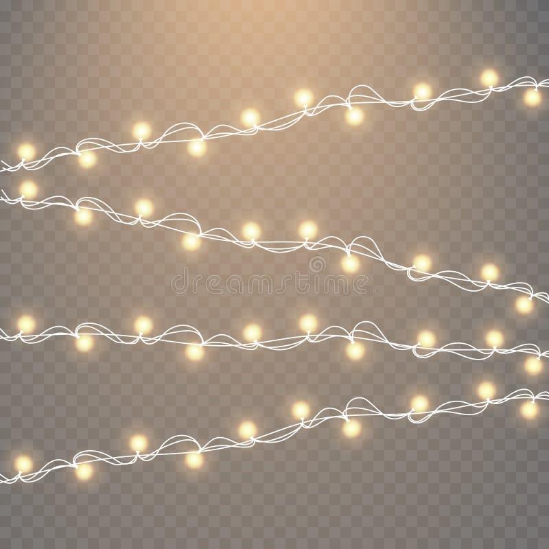 Julljus som isoleras på genomskinlig bakgrund Uppsättning av den guld- glödande girlanden för xmas också vektor för coreldrawillu vektor illustrationer