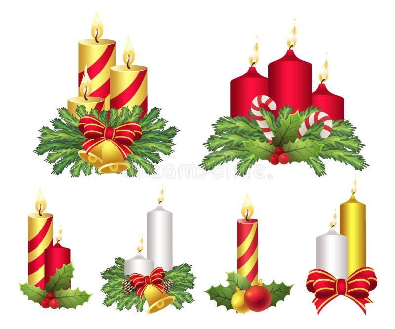 Julljus ställde in, beröm och ljus garnering stock illustrationer