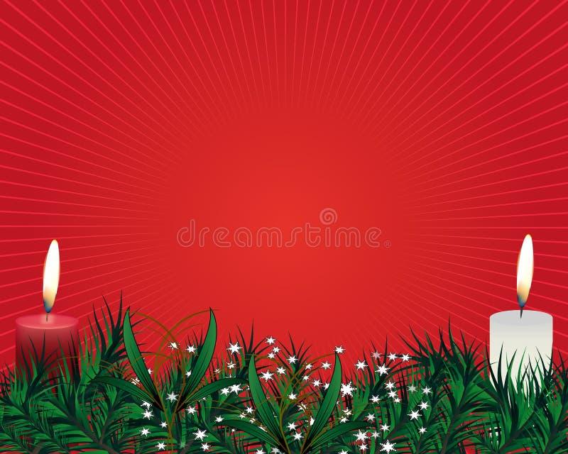 Julljuset kombinerade den breddjulgranfilialer, godisen och pilbågar stock illustrationer