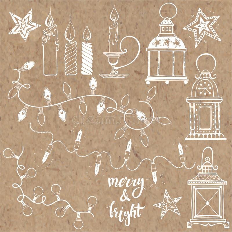 Jullyktor, festliga girlandljus och julljus Vektoruppsättning, beståndsdelar på kraft papper vektor illustrationer