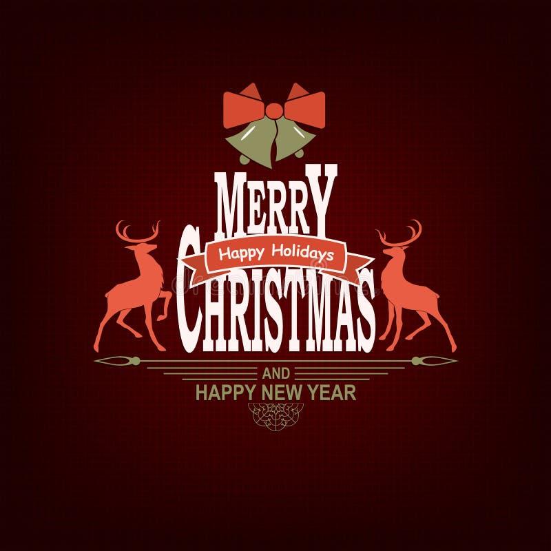 Julmörker - röd sammansättning med deers, text, konturn av en snöflinga och klockor stock illustrationer