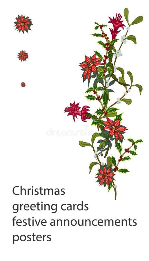 Julmallar med blommor för din design, hälsningkort, festliga meddelanden stock illustrationer