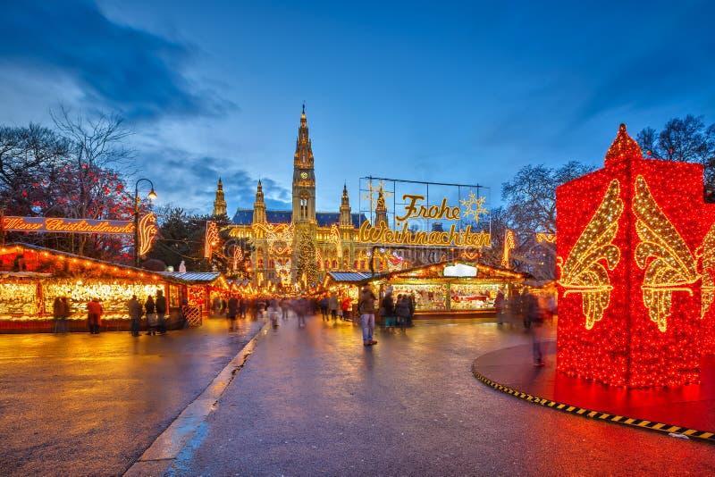 Julmarknad i Wien fotografering för bildbyråer