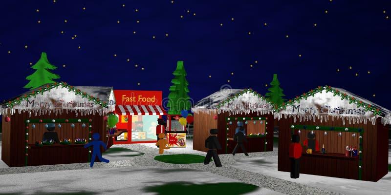 Julmarknad med diagram på natten stock illustrationer