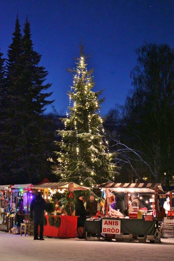 Julmarknad på det Norrbotten museet royaltyfri foto