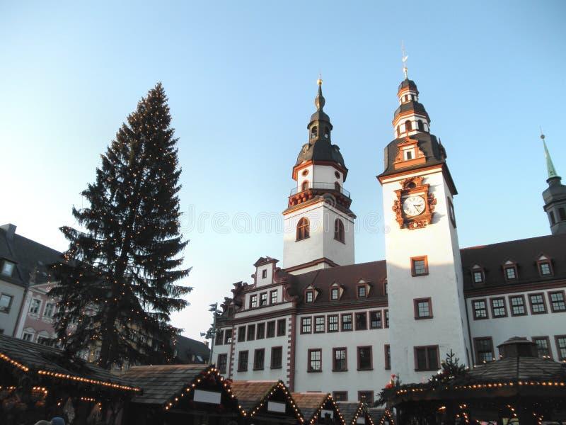 Julmarknaden i Chemnitz i Sachsen royaltyfria bilder