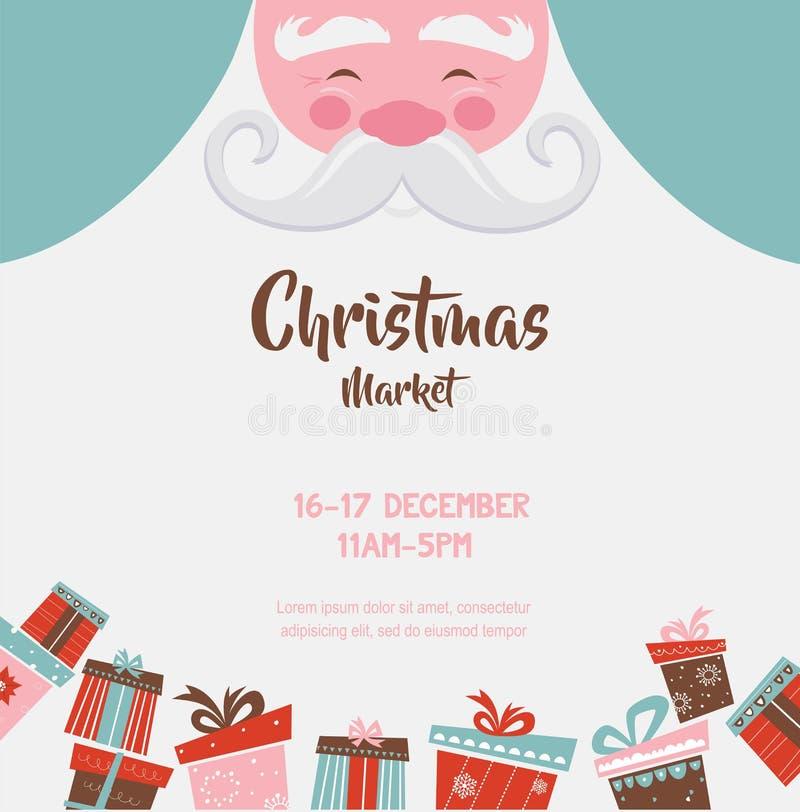 Julmarknadsaffisch med santa och gåvor också vektor för coreldrawillustration royaltyfri illustrationer