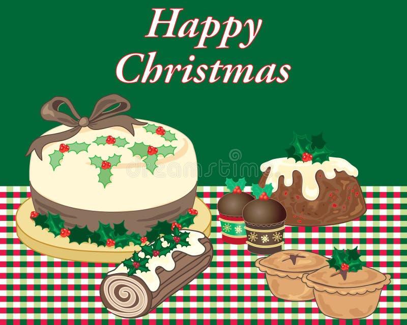 Julmatefterrätter på en röd och grön tabblecloth vektor illustrationer