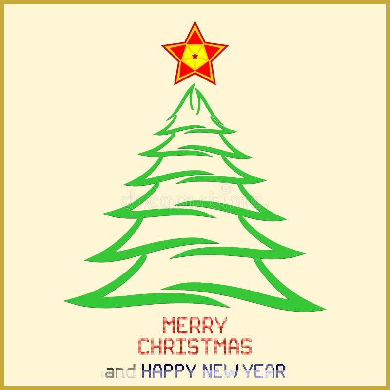 Julmeddelande med trädet royaltyfri illustrationer