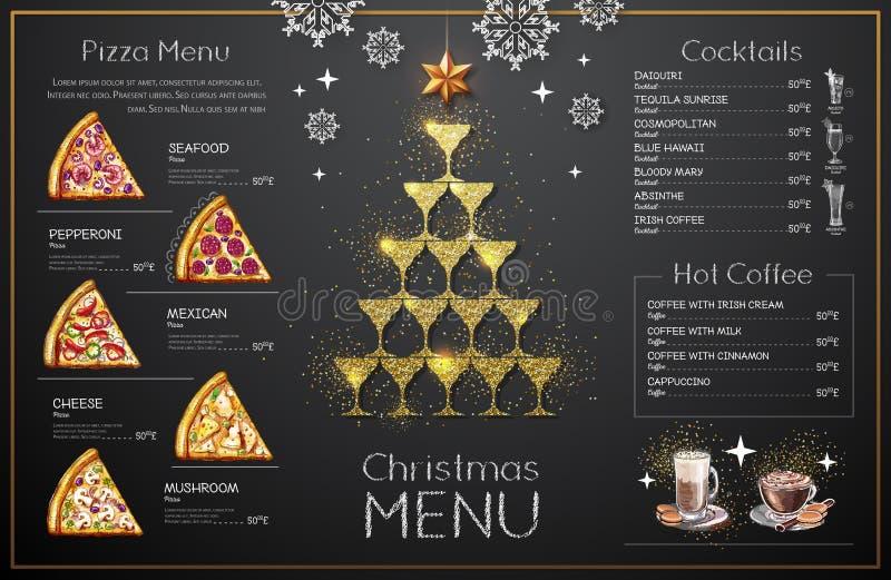 Julmenydesign med guld- champagneexponeringsglas Pyramid av champagneexponeringsglas royaltyfri illustrationer