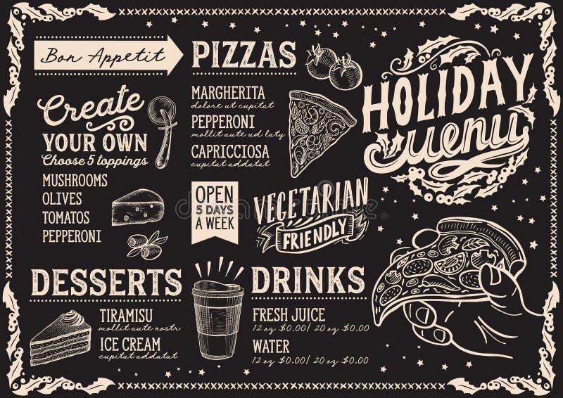Julmenymall för pizzarestaurang och kafé på en illustration för svart tavlabakgrundsvektor för xmas-matställeberöm stock illustrationer