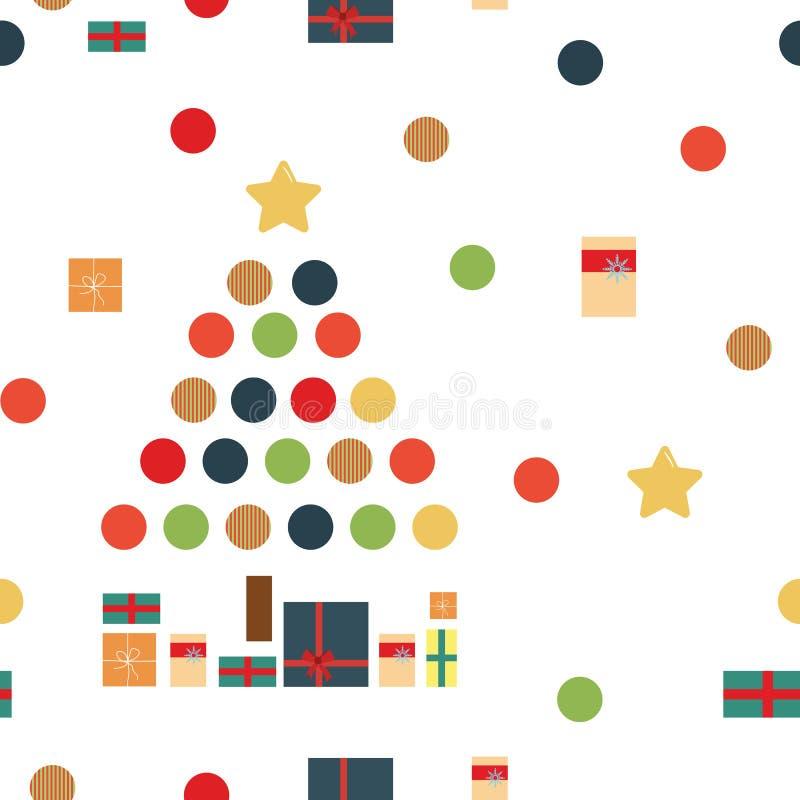 Julmodell av julgranar och gåvor stock illustrationer