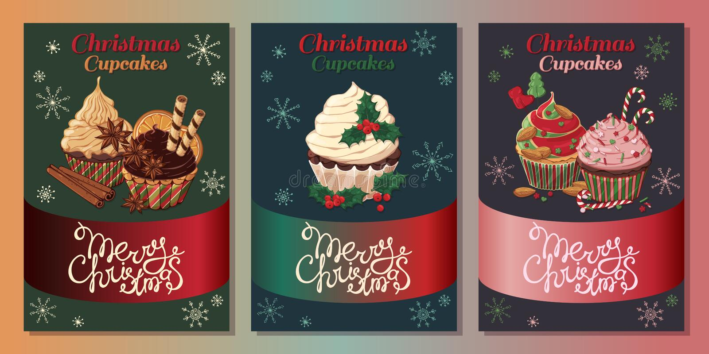 Julmuffinkort vektor illustrationer