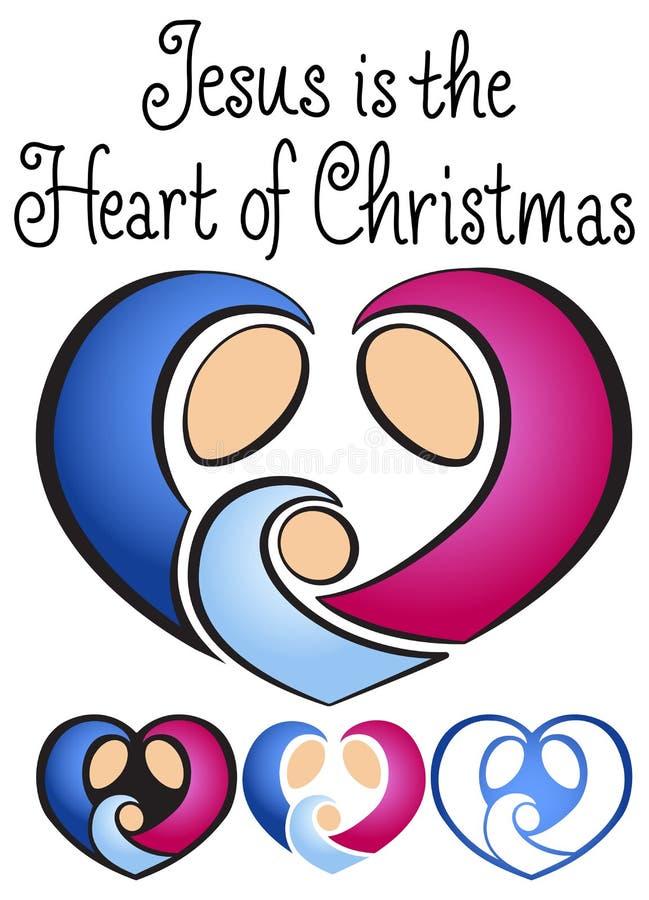 JulNativityhjärta vektor illustrationer