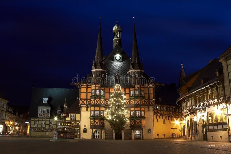 Julnatt i ett sceniskt ställe royaltyfria foton