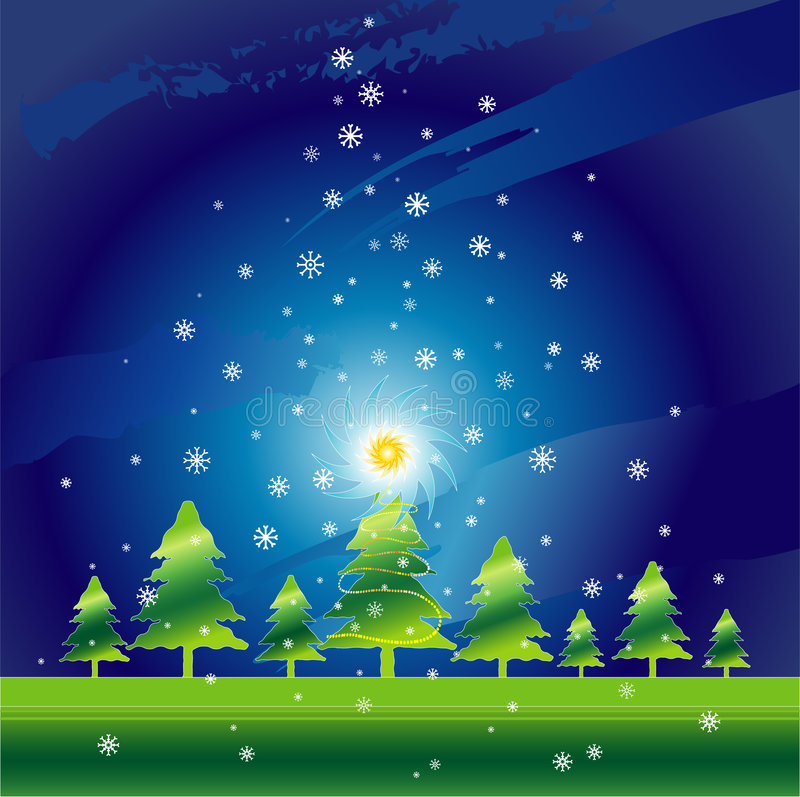 julnattvektor royaltyfri illustrationer