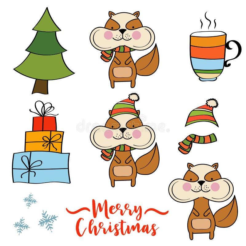 Julobjektsamling stock illustrationer