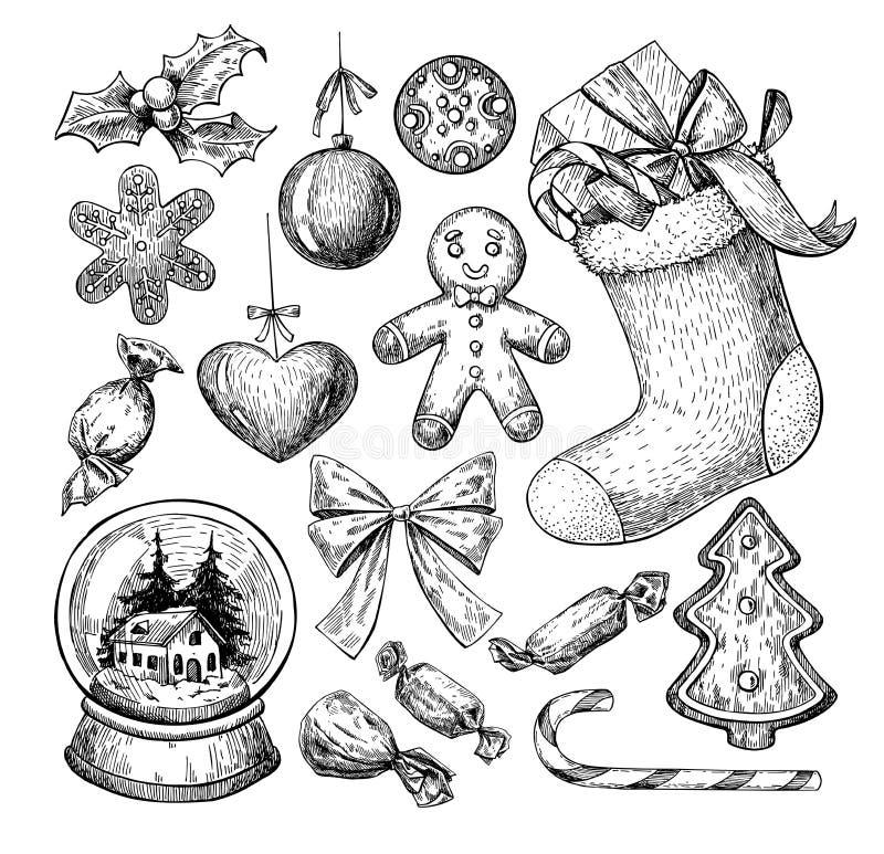 Julobjektuppsättning Hand tecknad vektorillustration Xmas-symboler royaltyfri illustrationer