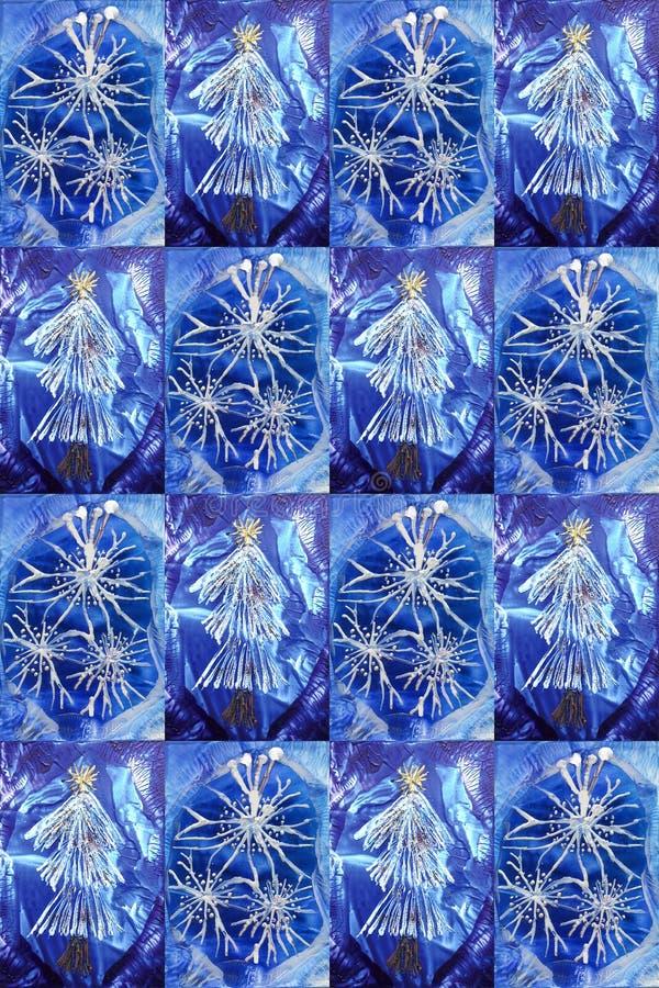 Julpaneler med det encaustic julträdet och snöflingan vektor illustrationer