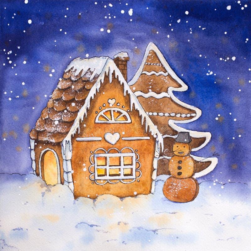 Julpepparkakahus - vattenfärgillustration stock illustrationer