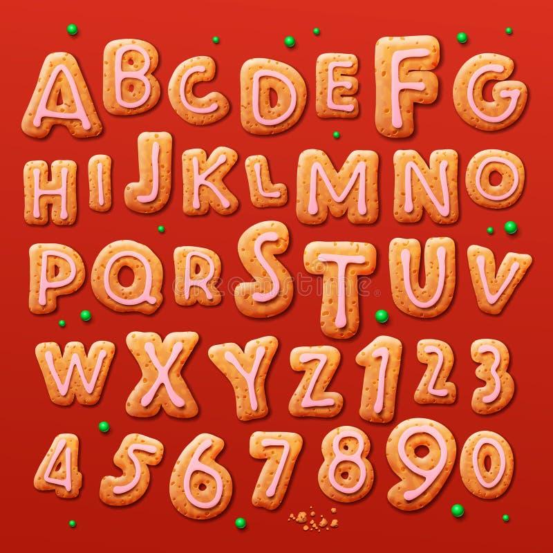 Julpepparkakakakor alfabet och nummer stock illustrationer
