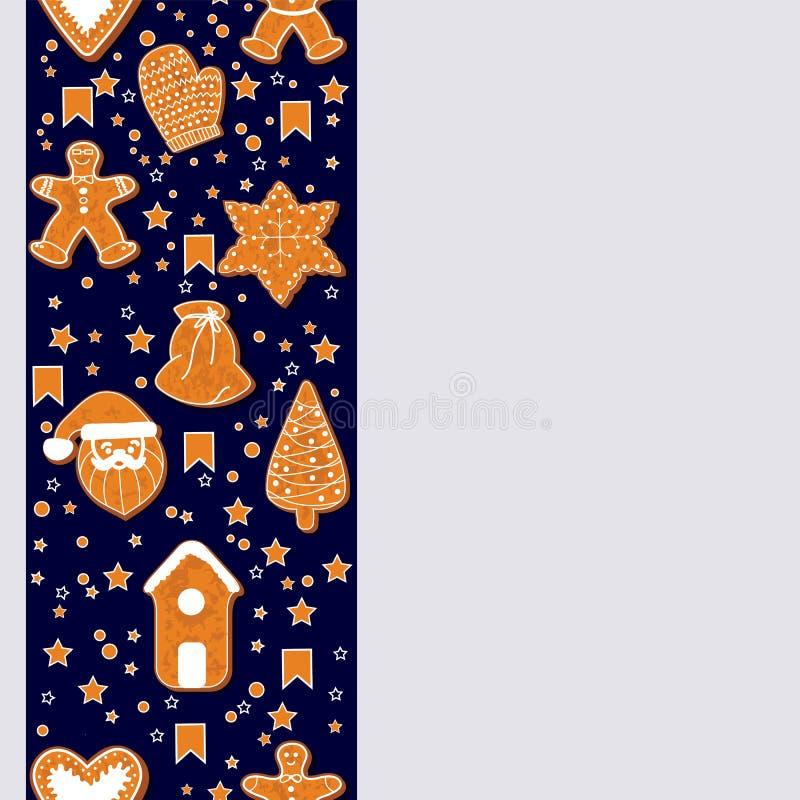 Julpepparkakakakor som gör en rektangulär ram också vektor för coreldrawillustration Lycklig affisch för vinterferier nytt år stock illustrationer
