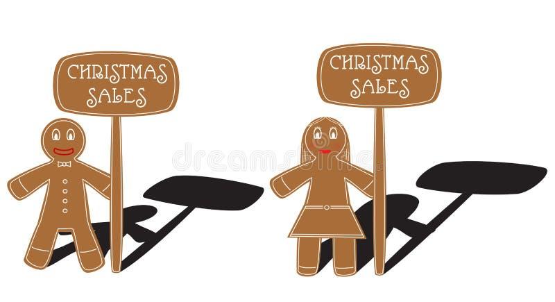 Julpepparkakapar stock illustrationer
