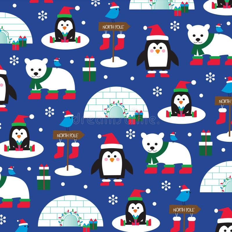 Julpingvin och isbjörnar stock illustrationer