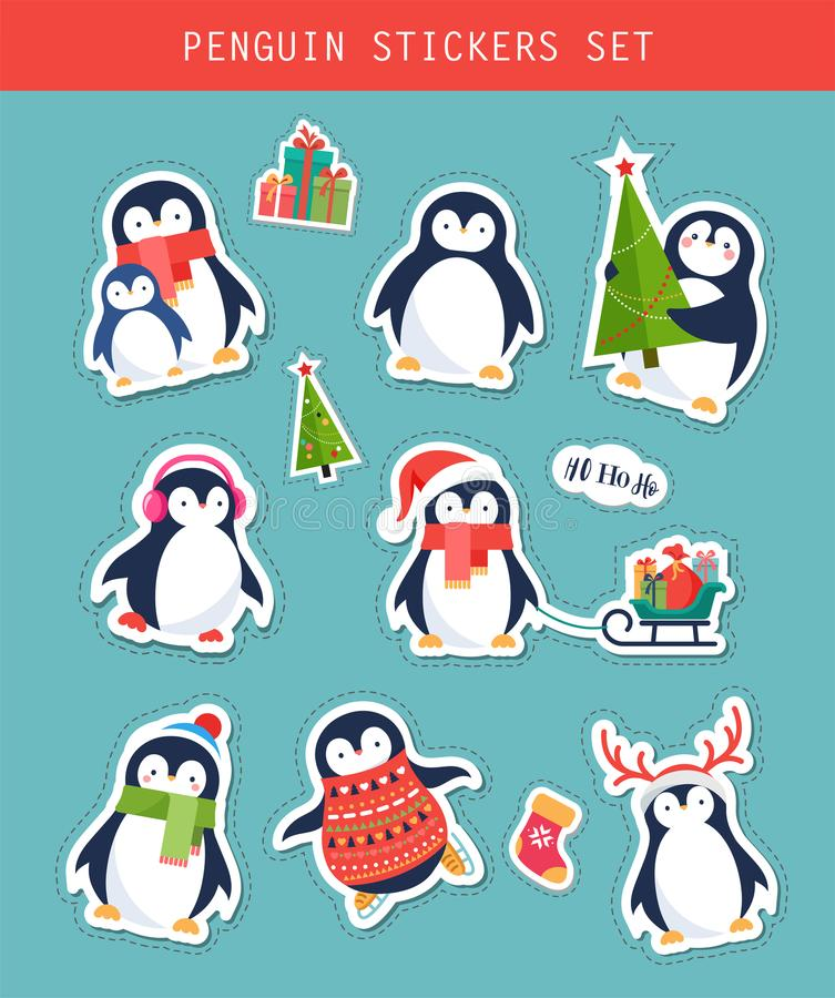 Julpingvinklistermärkear ställer in, lappar och etiketter vektor illustrationer