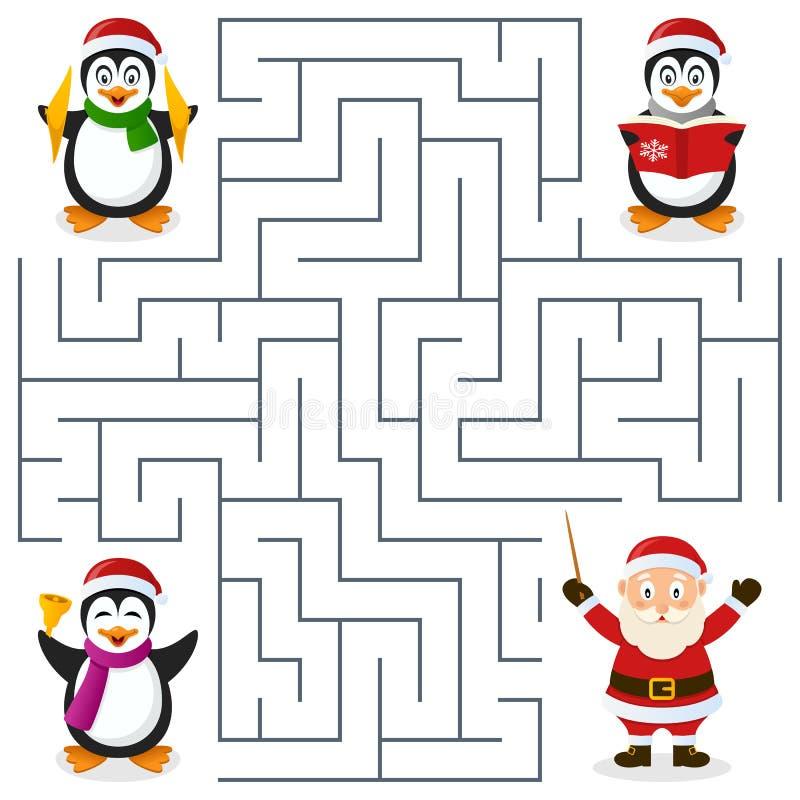Julpingvinlabyrint för ungar royaltyfri illustrationer