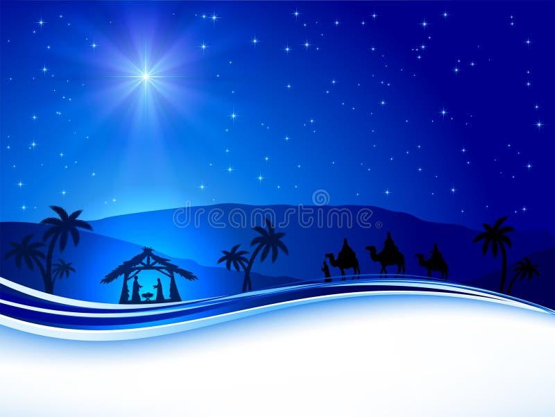 Julplats på himmelbakgrund royaltyfri illustrationer
