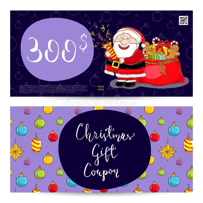 Julpresentkort med den förskottsbetalda summamallen royaltyfri illustrationer