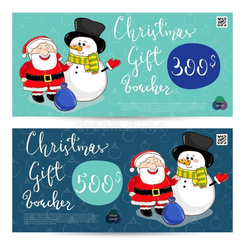Julpresentkort med den förskottsbetalda summamallen vektor illustrationer