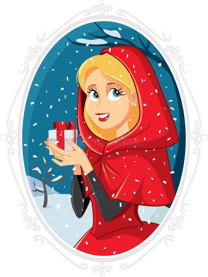 Julprinsessa With Gift Box i vinter utanför stock illustrationer