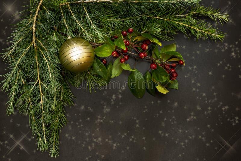 Julprydnader med små röda bär, ljusa bollar, röda stearinljus och en sörja förgrena sig royaltyfria foton