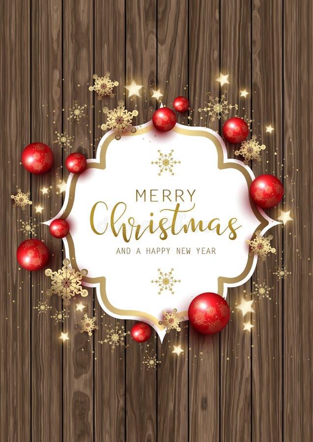 Julprydnader och snöflingor på wood textur stock illustrationer