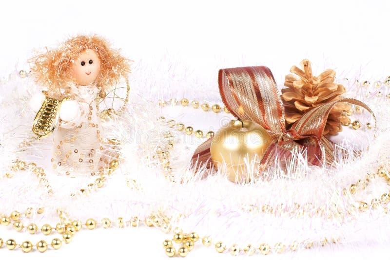 Julpynt, ängel och stearinljus royaltyfri fotografi