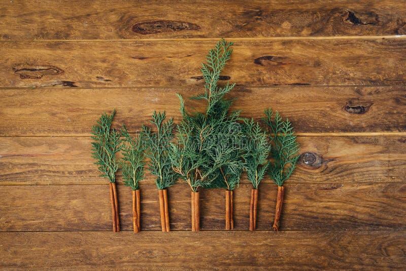 Julpynt över träbakgrund arkivbild