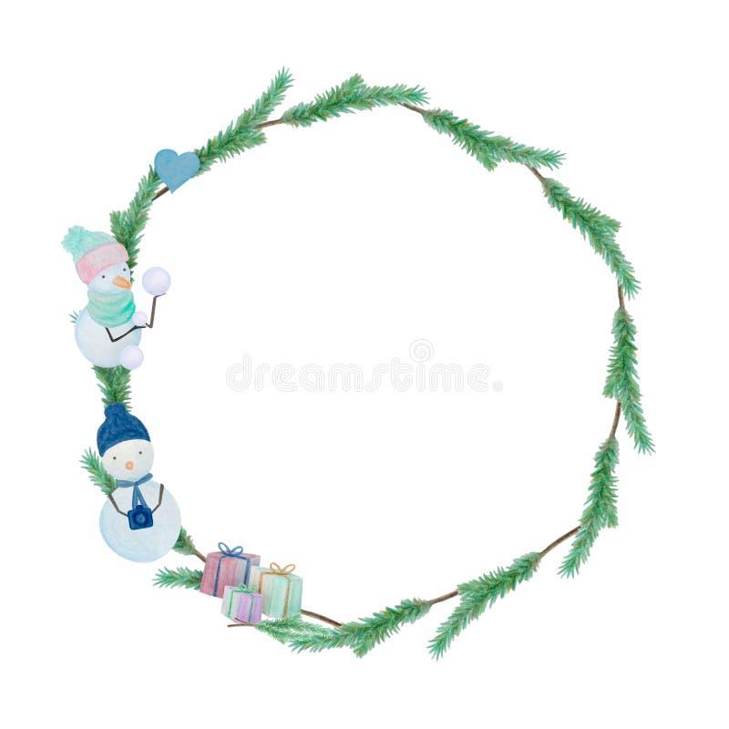 Julram med snögubbear som dras med färgvattenfärgblyertspennor vektor illustrationer