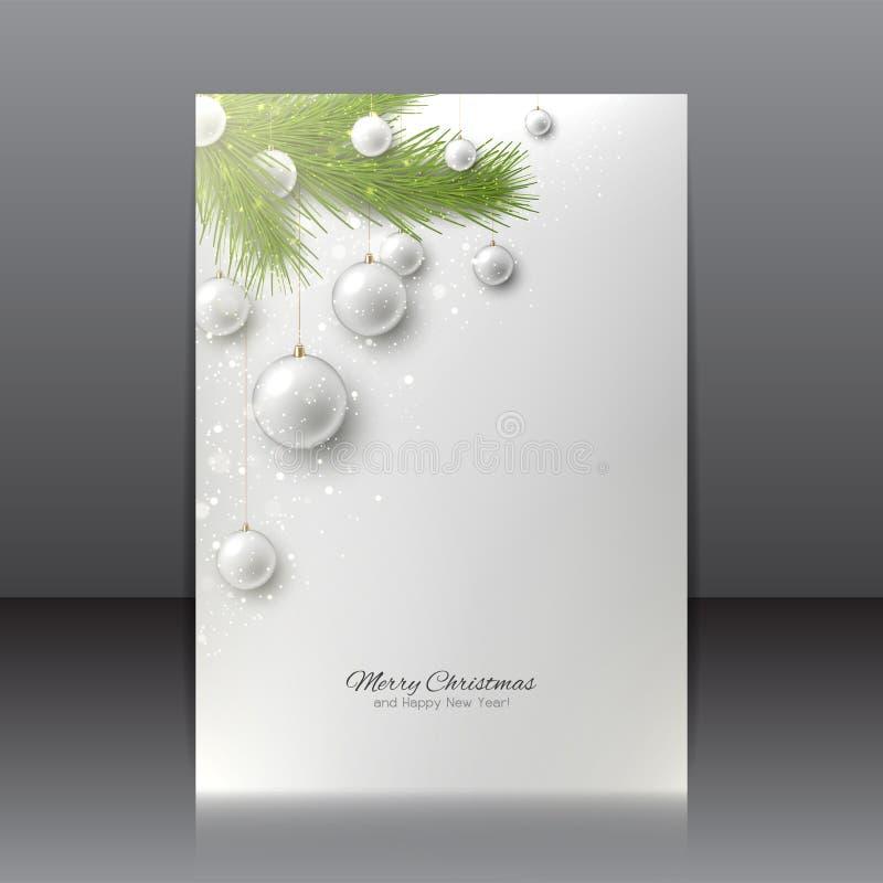 Julreklamblad med med julgran- och julleksaker royaltyfri illustrationer