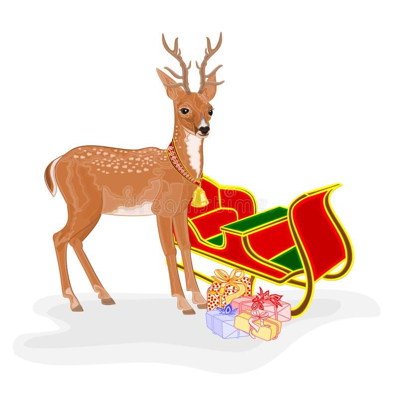 Julren med jultomten släde och gåvavektorn vektor illustrationer