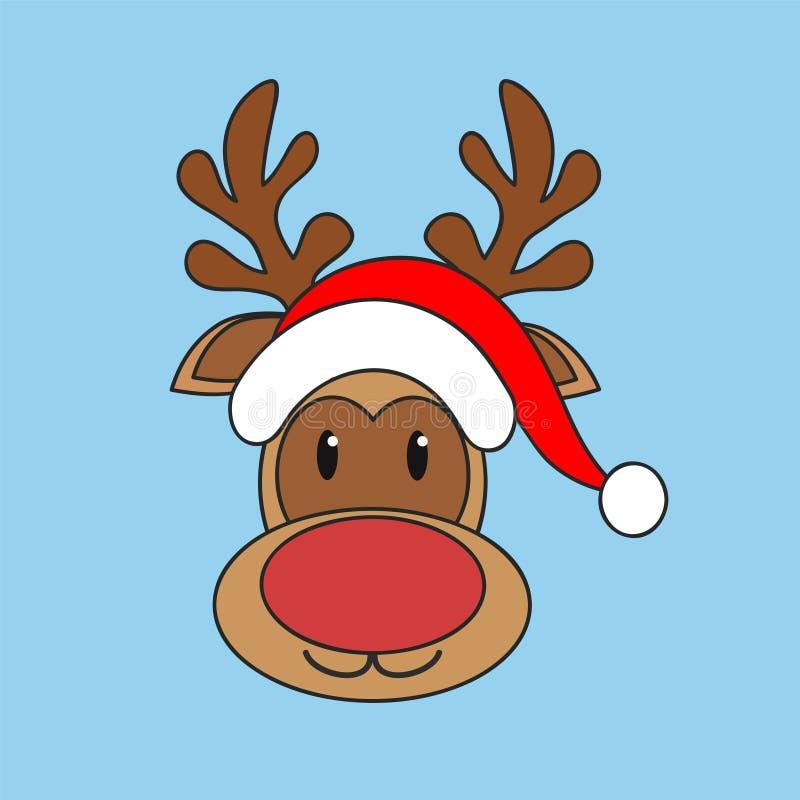 Julrenen i den röda Santa Claus hatten på blå bakgrund, lagerför vektorillustrationen royaltyfri illustrationer