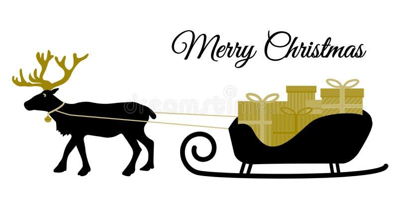 Julrenen med kragen och högen av gåva boxas på den Santas släden, svart silhoutte och guld- signaler, lägenhetdesignvektorn fo stock illustrationer
