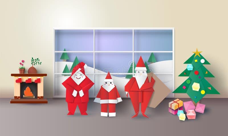 Julruminre med Santa Claus, gran-träd, framlägger origami och spisen, stil för konst 3D för vektorillustrationpapper royaltyfri illustrationer