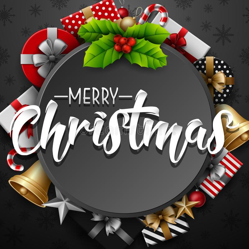 Julrundaram med järnekbäret och gåvaasken på grå bakgrund vektor illustrationer