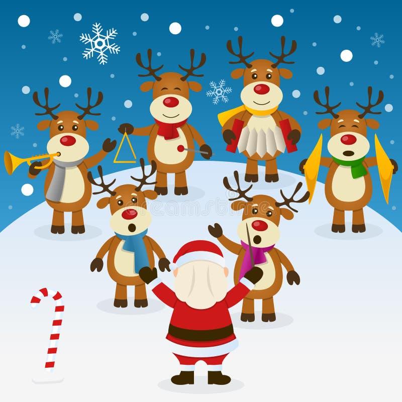 Julsång med orkesteren royaltyfri illustrationer