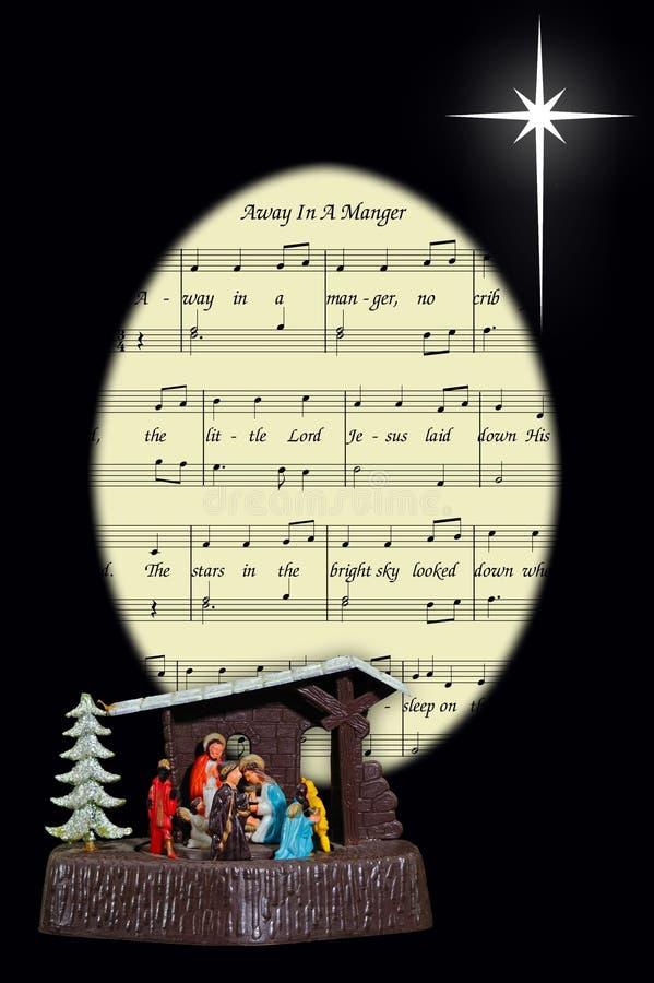 Julsång och nativity. arkivfoton
