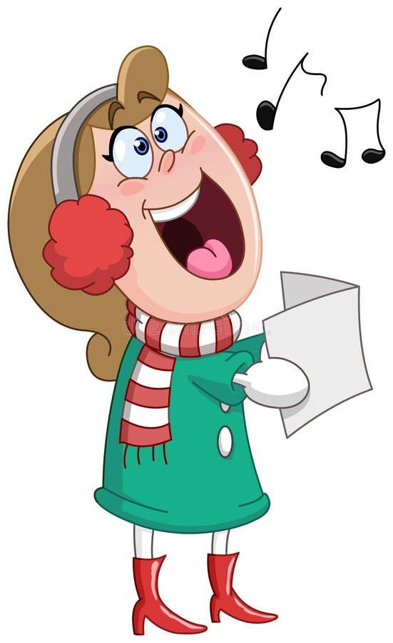 Julsångkvinna royaltyfri illustrationer